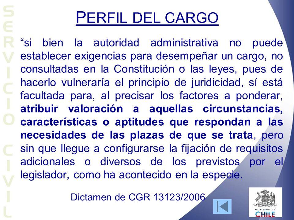 P ERFIL DEL CARGO si bien la autoridad administrativa no puede establecer exigencias para desempeñar un cargo, no consultadas en la Constitución o las