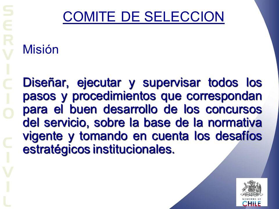 Misión Diseñar, ejecutar y supervisar todos los pasos y procedimientos que correspondan para el buen desarrollo de los concursos del servicio, sobre la base de la normativa vigente y tomando en cuenta los desafíos estratégicos institucionales.