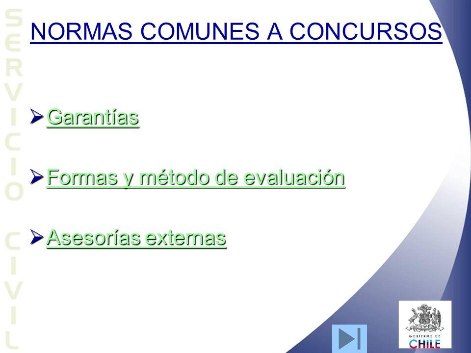 NORMAS COMUNES A CONCURSOS Garantías Garantías Garantías Formas y método de evaluación Formas y método de evaluación Formas y método de evaluación Formas y método de evaluación Asesorías externas Asesorías externas Asesorías externas Asesorías externas