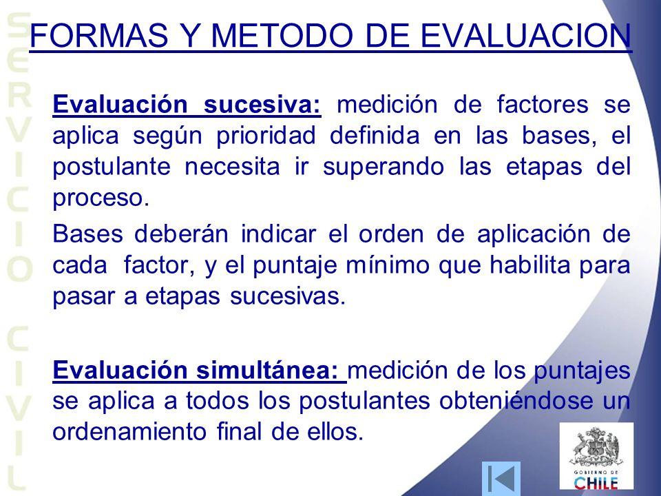 FORMAS Y METODO DE EVALUACION Evaluación sucesiva: medición de factores se aplica según prioridad definida en las bases, el postulante necesita ir superando las etapas del proceso.