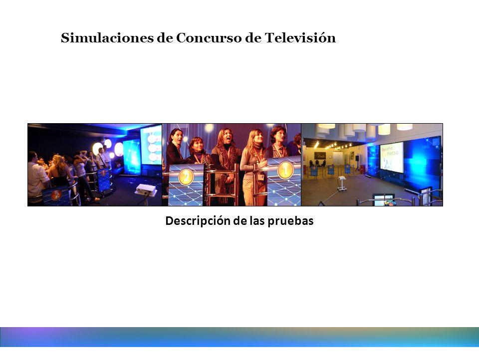 Simulaciones de Concurso de Televisión Descripción de las pruebas