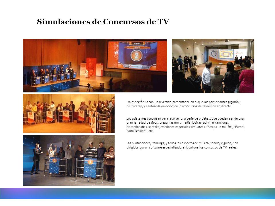 Simulaciones de Concursos de TV Un espectáculo con un divertido presentador en el que los participantes jugarán, disfrutarán, y sentirán la emoción de