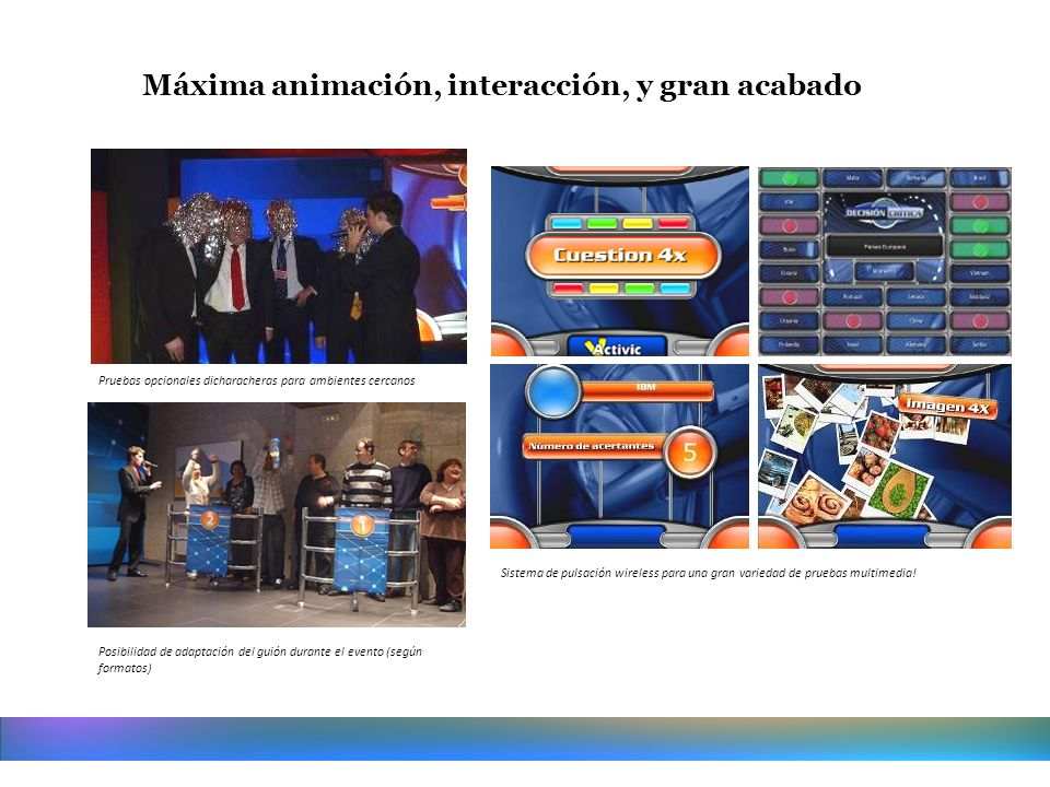Máxima animación, interacción, y gran acabado Posibilidad de adaptación del guión durante el evento (según formatos) Sistema de pulsación wireless par