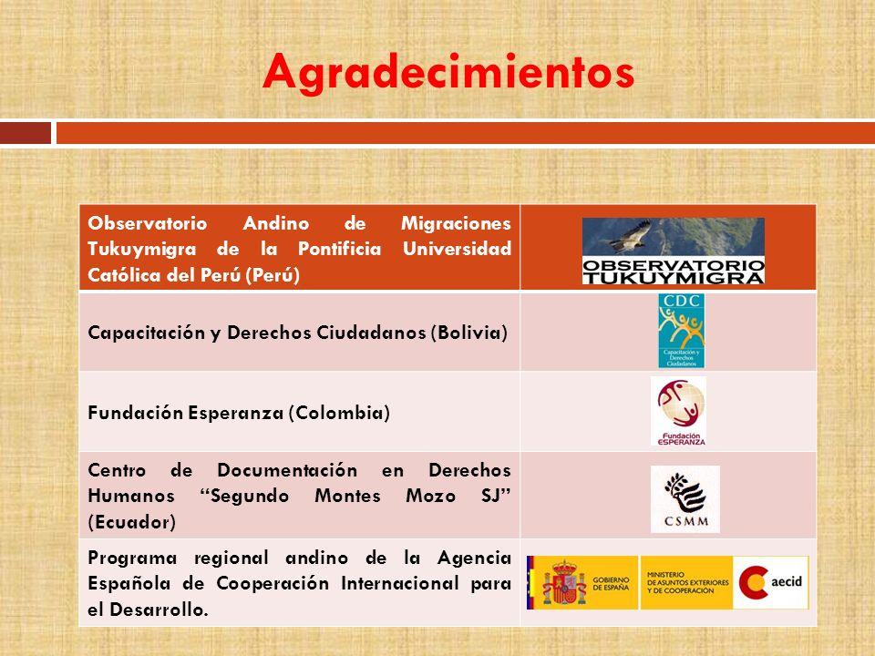 Agradecimientos Observatorio Andino de Migraciones Tukuymigra de la Pontificia Universidad Católica del Perú (Perú) Capacitación y Derechos Ciudadanos
