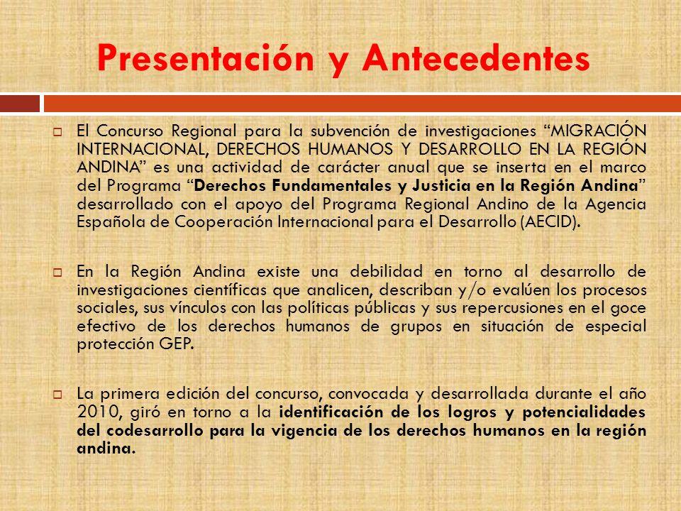 Presentación y Antecedentes El Concurso Regional para la subvención de investigaciones MIGRACIÓN INTERNACIONAL, DERECHOS HUMANOS Y DESARROLLO EN LA RE