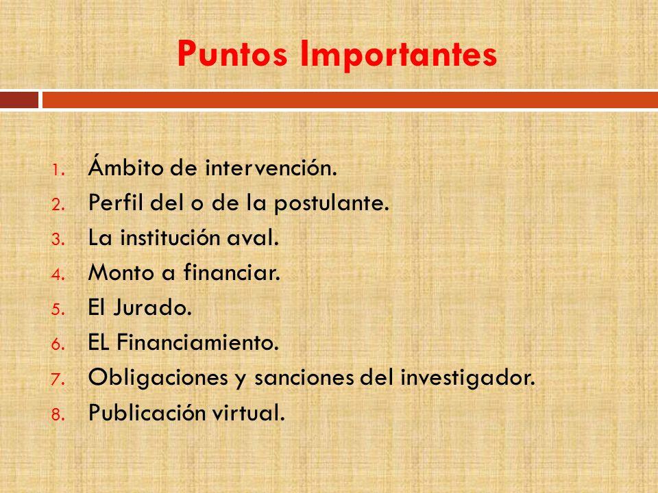 Puntos Importantes 1. Ámbito de intervención. 2.