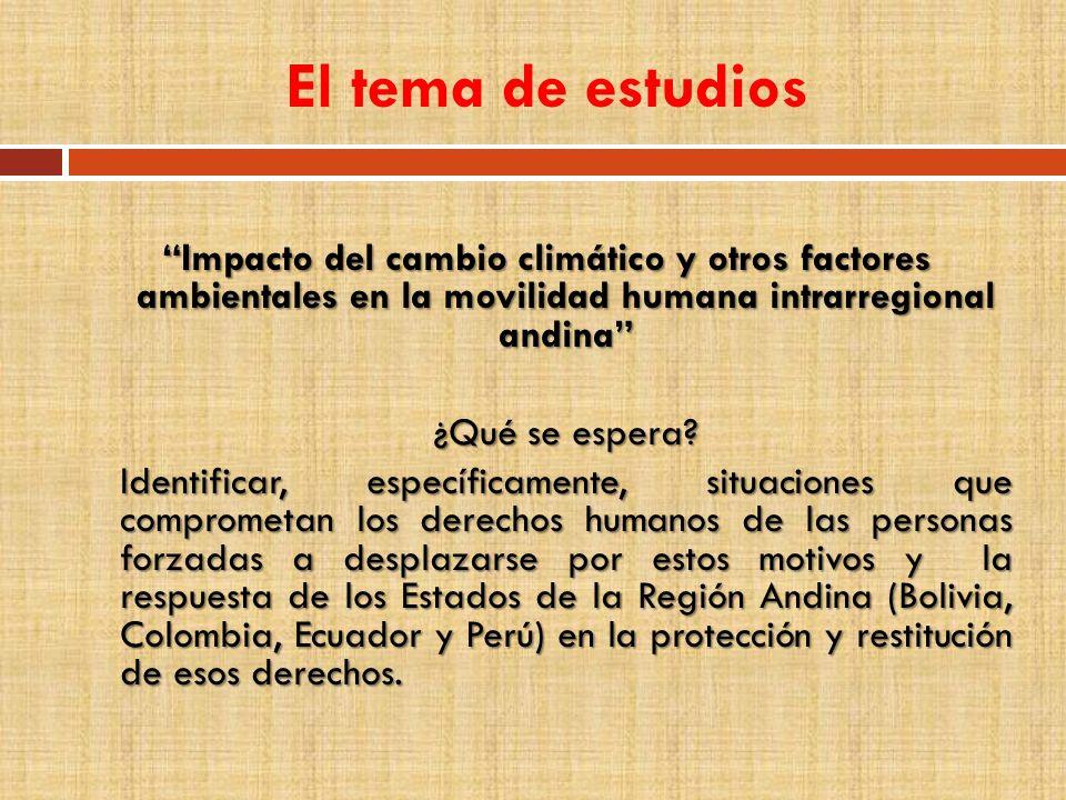El tema de estudios Impacto del cambio climático y otros factores ambientales en la movilidad humana intrarregional andina ¿Qué se espera? Identificar