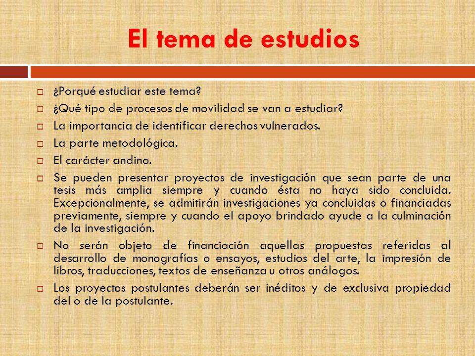 Presentación de postulaciones Requisitos formales de postulación Anexos Cronograma de presentación Publicación de convocatoria: 13 de mayo de 2011.