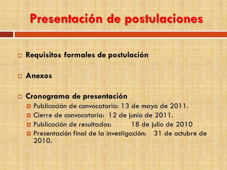 Presentación de postulaciones Requisitos formales de postulación Anexos Cronograma de presentación Publicación de convocatoria: 13 de mayo de 2011. Ci