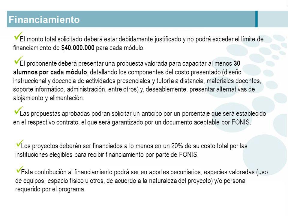 Financiamiento El monto total solicitado deberá estar debidamente justificado y no podrá exceder el límite de financiamiento de $40.000.000 para cada módulo.