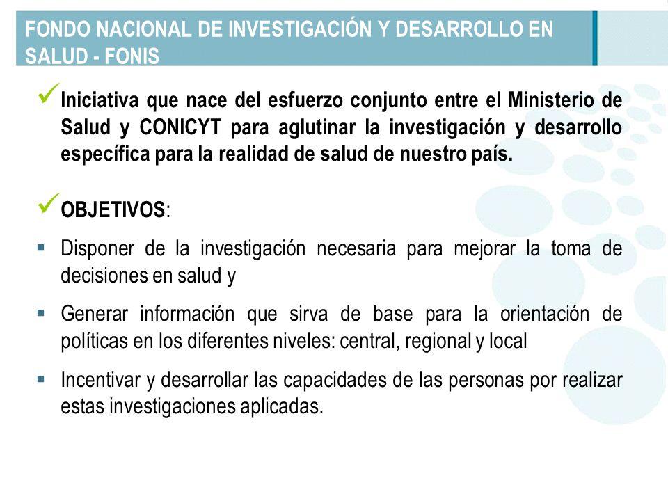 FONDO NACIONAL DE INVESTIGACIÓN Y DESARROLLO EN SALUD - FONIS Iniciativa que nace del esfuerzo conjunto entre el Ministerio de Salud y CONICYT para ag