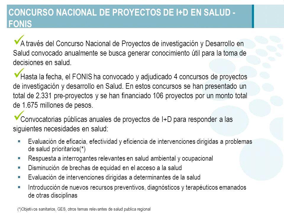 CONCURSO NACIONAL DE PROYECTOS DE I+D EN SALUD - FONIS A través del Concurso Nacional de Proyectos de investigación y Desarrollo en Salud convocado an