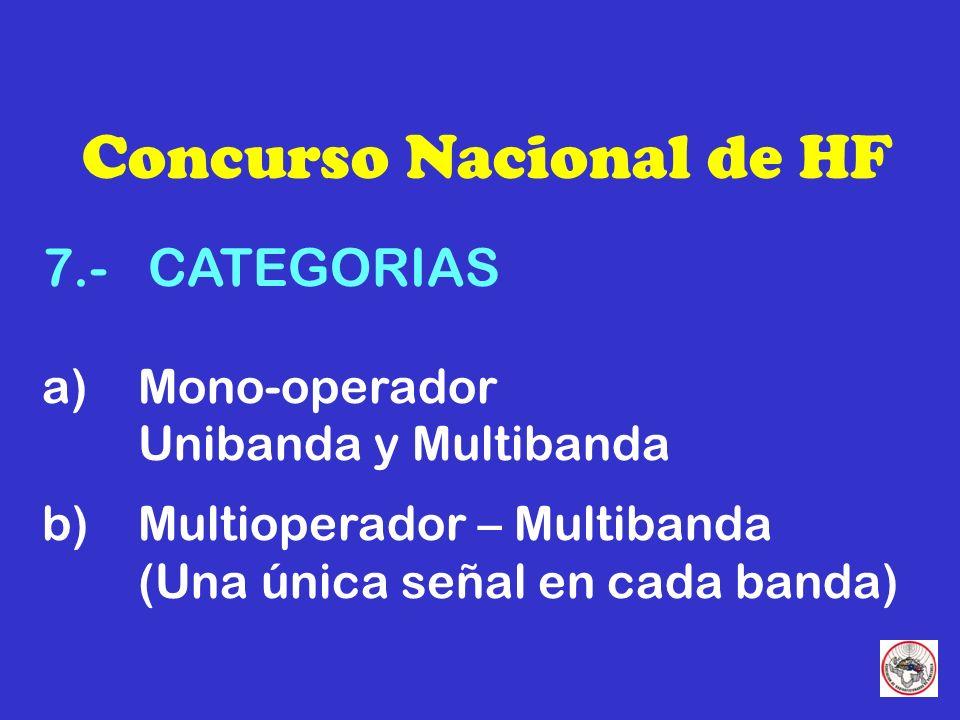 Concurso Nacional de HF 7.- CATEGORIAS a) Mono-operador Unibanda y Multibanda b) Multioperador – Multibanda (Una única señal en cada banda)