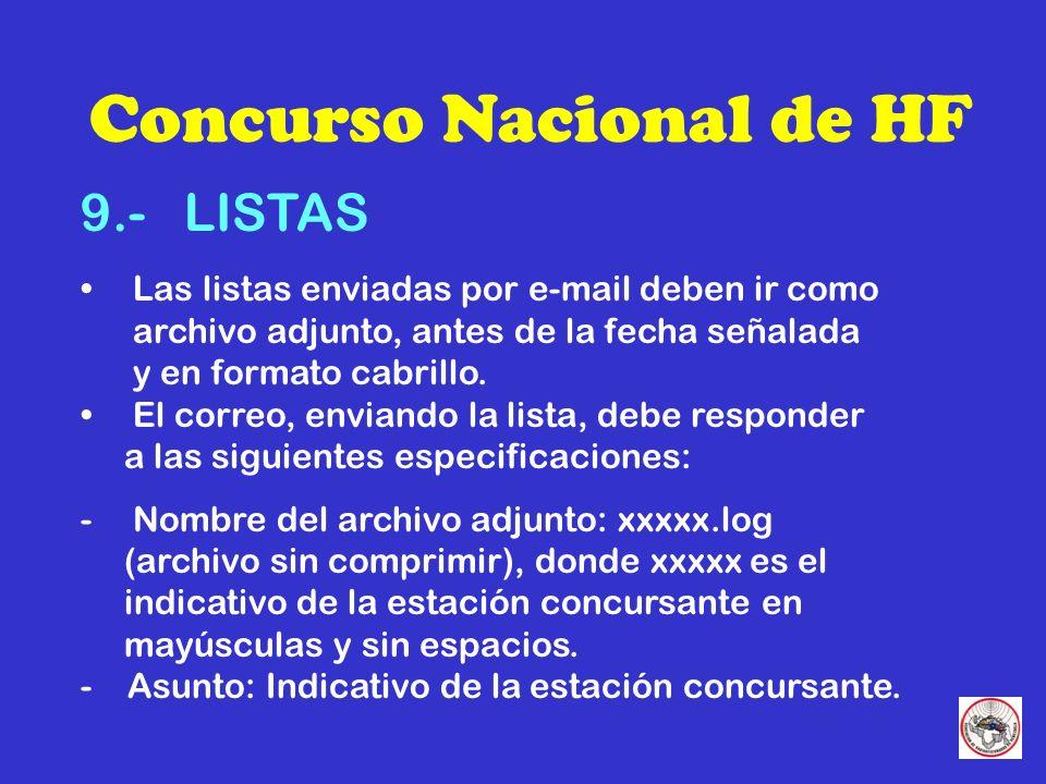 Concurso Nacional de HF 9.- LISTAS Las listas enviadas por e-mail deben ir como archivo adjunto, antes de la fecha señalada y en formato cabrillo.