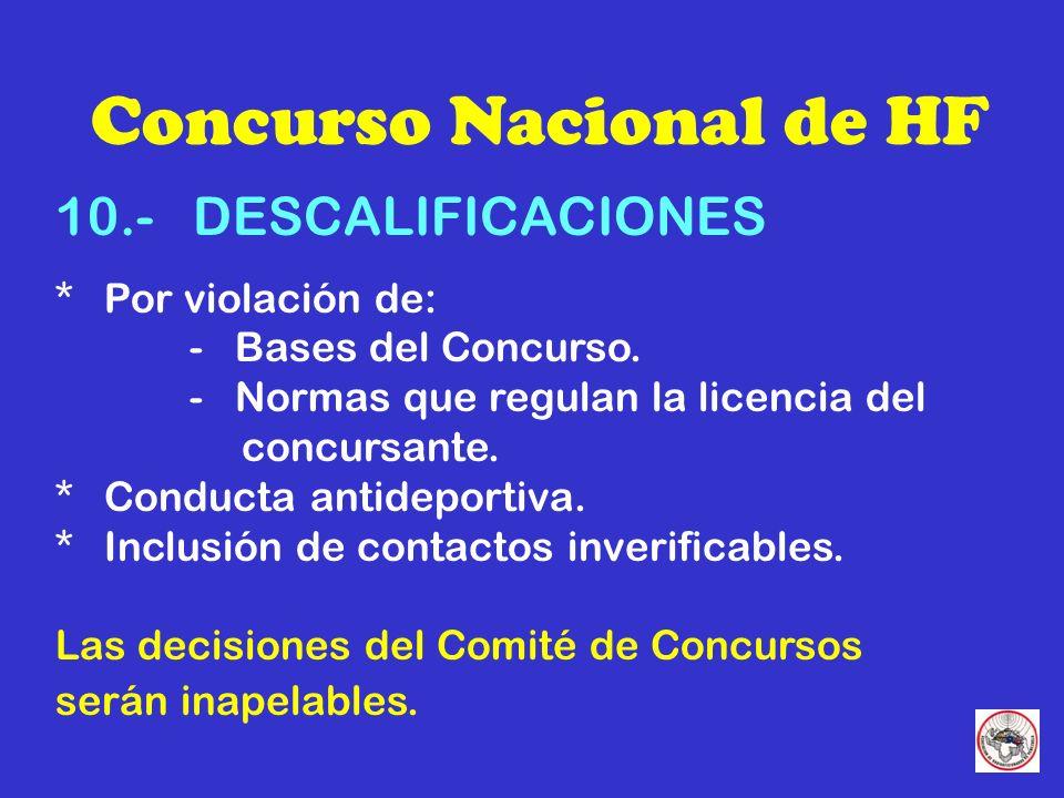 Concurso Nacional de HF 10.- DESCALIFICACIONES * Por violación de: - Bases del Concurso.