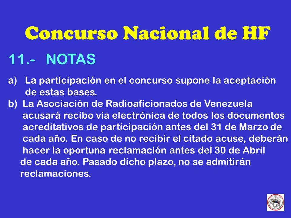 Concurso Nacional de HF 11.- NOTAS a) La participación en el concurso supone la aceptación de estas bases.