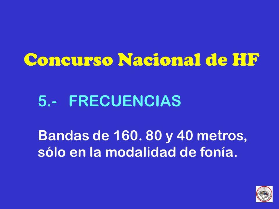 Concurso Nacional de HF 6.- PUNTUACION TOTAL Suma de los puntos X suma total de los multiplicadores en cada banda.