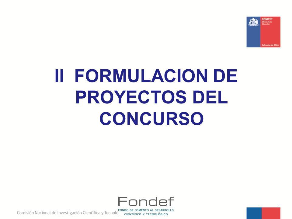 II FORMULACION DE PROYECTOS DEL CONCURSO