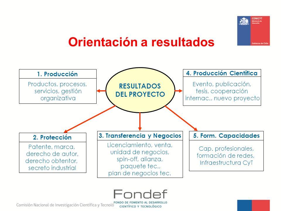 Orientación a resultados RESULTADOS DEL PROYECTO Productos, procesos, servicios, gestión organizativa Patente, marca, derecho de autor, derecho obtent