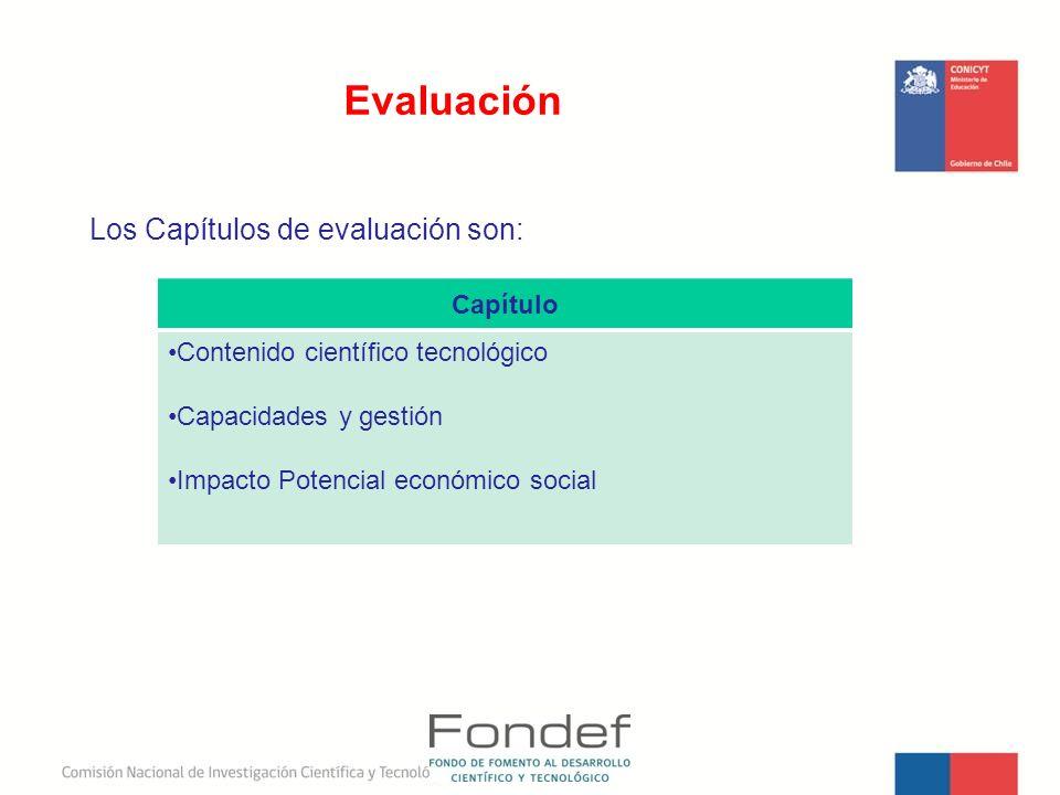 Los Capítulos de evaluación son: Evaluación Capítulo Contenido científico tecnológico Capacidades y gestión Impacto Potencial económico social