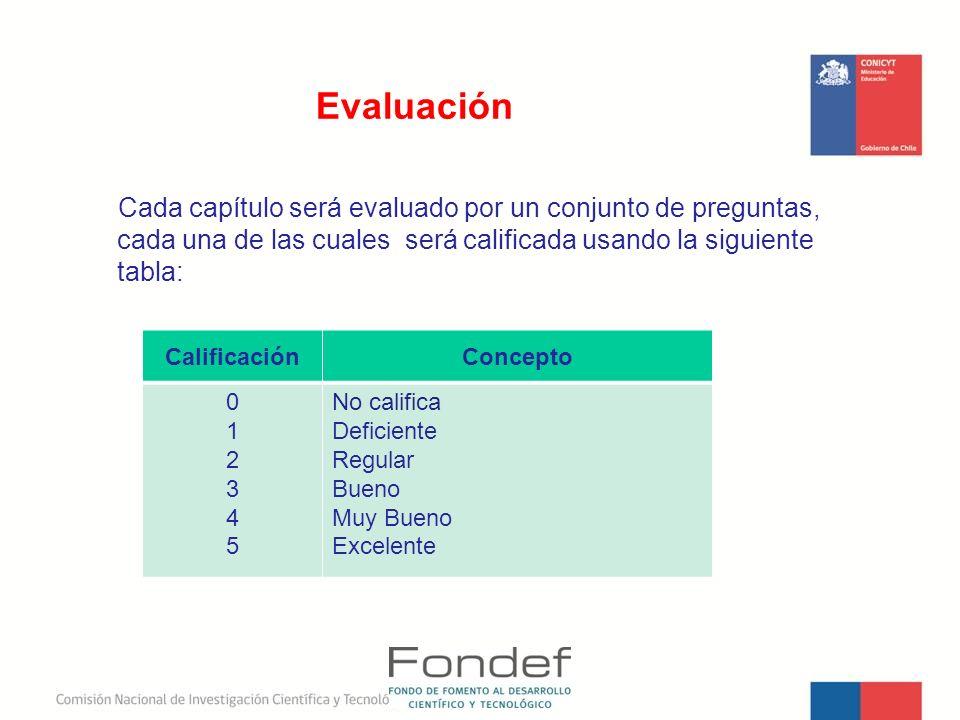 Cada capítulo será evaluado por un conjunto de preguntas, cada una de las cuales será calificada usando la siguiente tabla: Evaluación CalificaciónCon