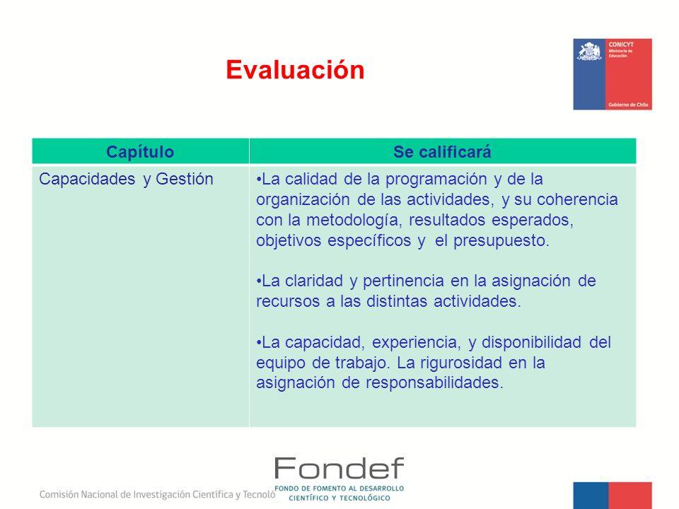 Evaluación CapítuloSe calificará Capacidades y GestiónLa calidad de la programación y de la organización de las actividades, y su coherencia con la me