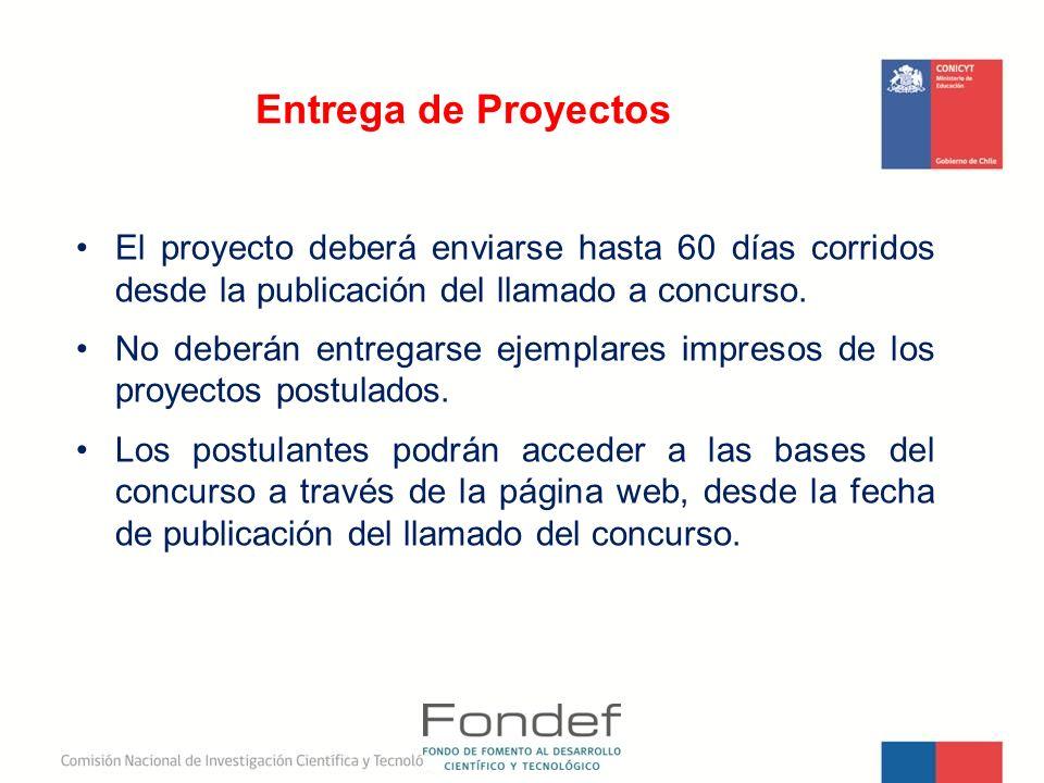 Entrega de Proyectos El proyecto deberá enviarse hasta 60 días corridos desde la publicación del llamado a concurso. No deberán entregarse ejemplares