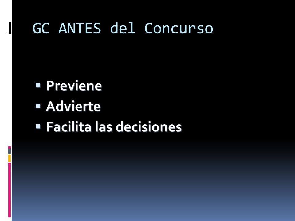 GC ANTES del Concurso Previene Previene Advierte Advierte Facilita las decisiones Facilita las decisiones