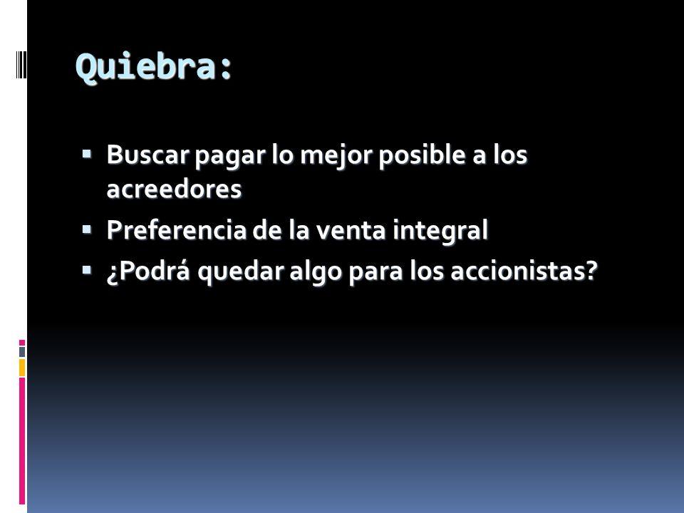 Quiebra: Buscar pagar lo mejor posible a los acreedores Buscar pagar lo mejor posible a los acreedores Preferencia de la venta integral Preferencia de