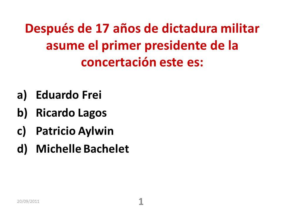 Después de 17 años de dictadura militar asume el primer presidente de la concertación este es: a)Eduardo Frei b)Ricardo Lagos c)Patricio Aylwin d)Michelle Bachelet 20/09/2011 1