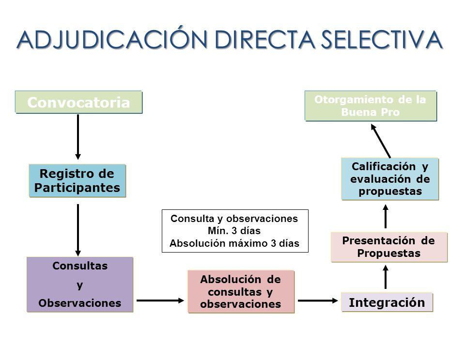 ADJUDICACIÓN DIRECTA SELECTIVA Convocatoria Registro de Participantes Consultas y Observaciones Integración Presentación de Propuestas Calificación y