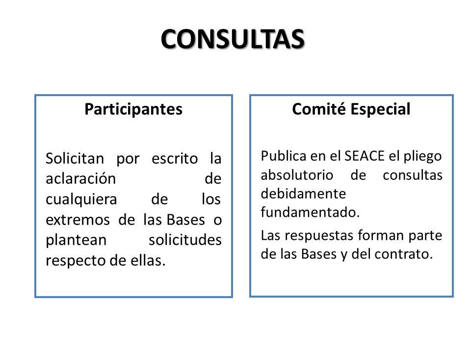 CONSULTAS Participantes Solicitan por escrito la aclaración de cualquiera de los extremos de las Bases o plantean solicitudes respecto de ellas. Comit
