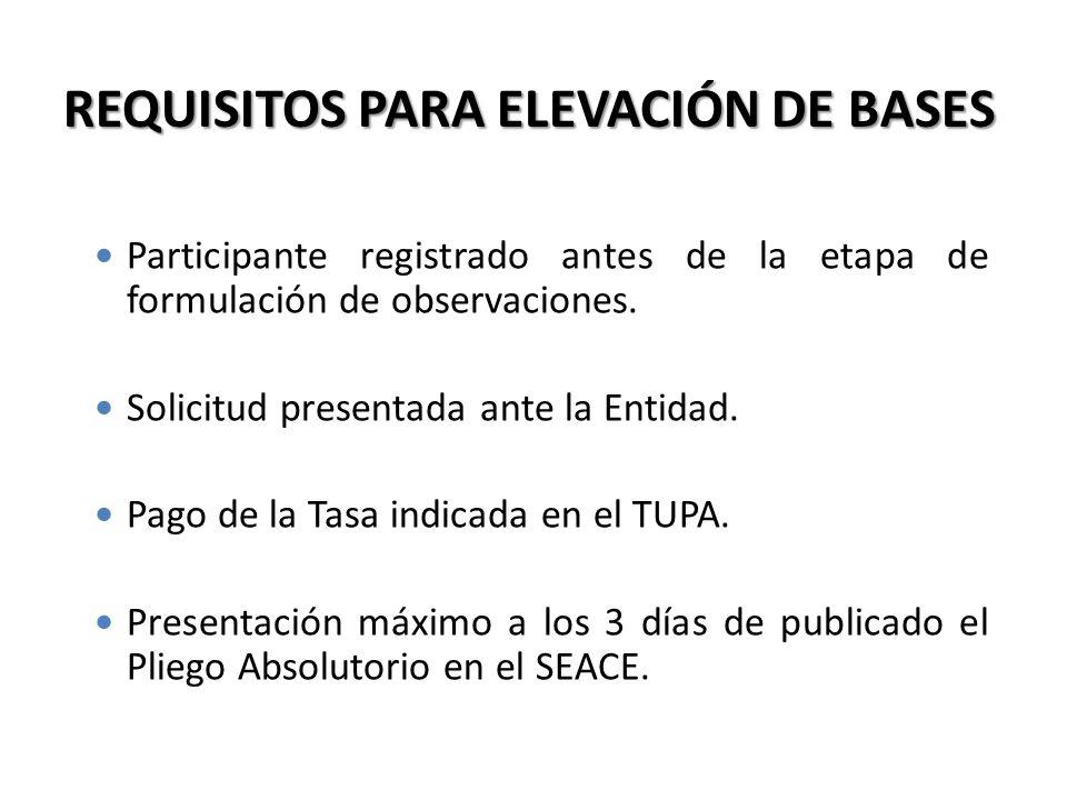 REQUISITOS PARA ELEVACIÓN DE BASES Participante registrado antes de la etapa de formulación de observaciones. Solicitud presentada ante la Entidad. Pa