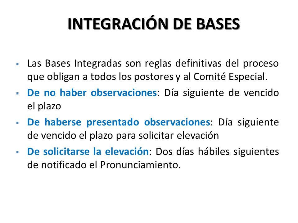 Las Bases Integradas son reglas definitivas del proceso que obligan a todos los postores y al Comité Especial. De no haber observaciones: Día siguient