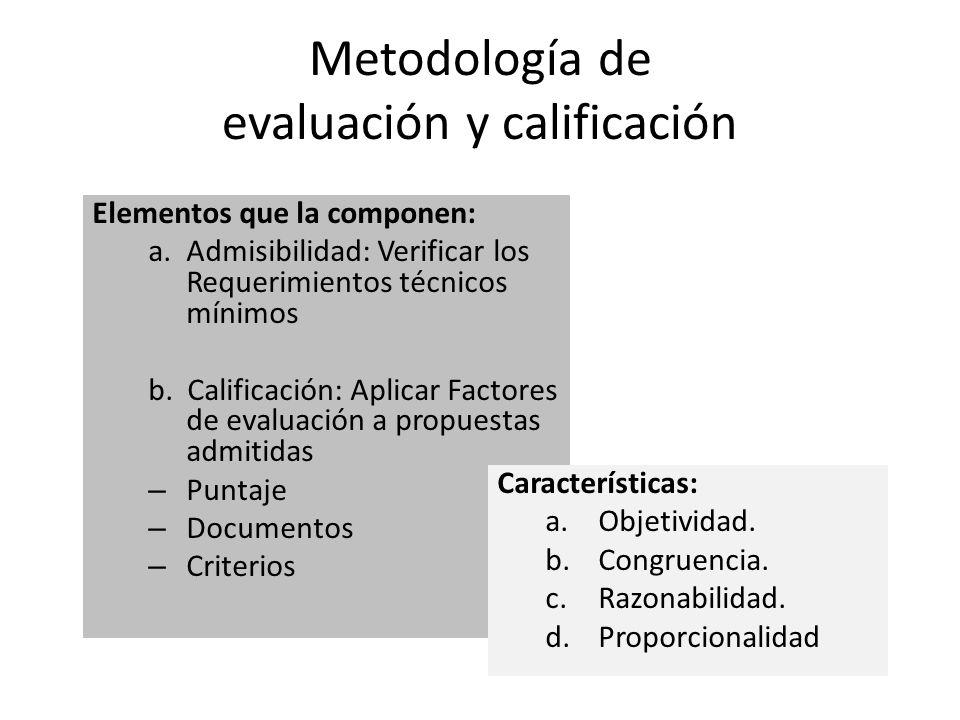 Metodología de evaluación y calificación Elementos que la componen: a.Admisibilidad: Verificar los Requerimientos técnicos mínimos b. Calificación: Ap
