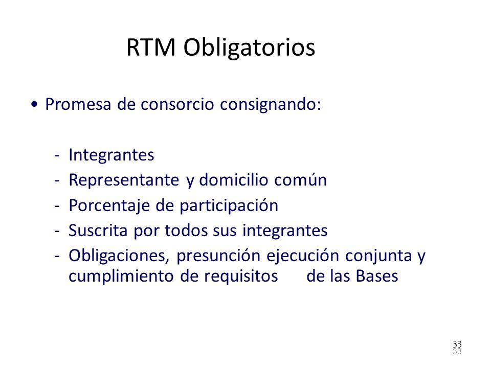 33 RTM Obligatorios Promesa de consorcio consignando: -Integrantes -Representante y domicilio común -Porcentaje de participación -Suscrita por todos s