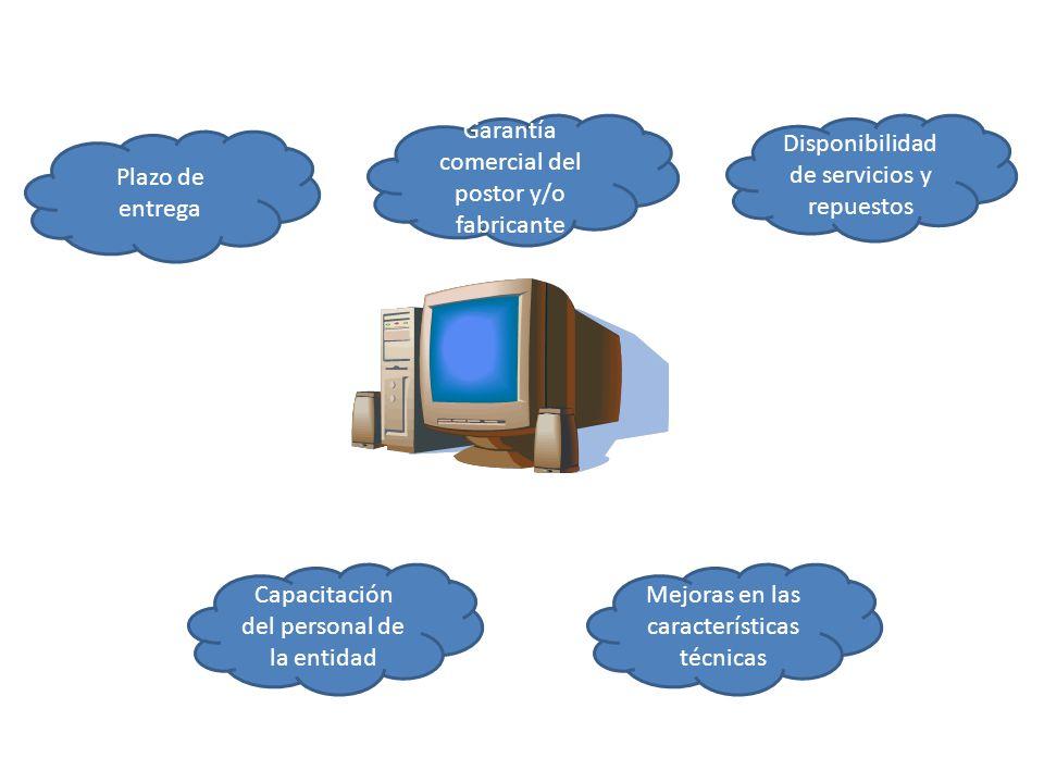 Plazo de entrega Capacitación del personal de la entidad Mejoras en las características técnicas Garantía comercial del postor y/o fabricante Disponib