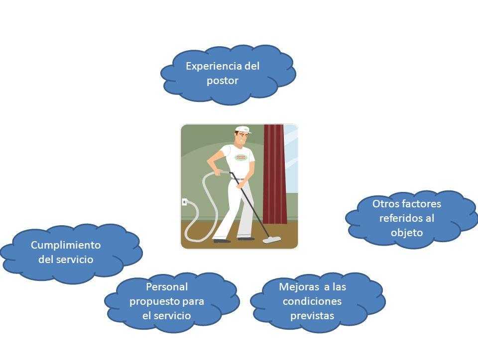 Experiencia del postor Personal propuesto para el servicio Mejoras a las condiciones previstas Cumplimiento del servicio Otros factores referidos al o