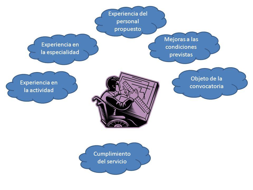 Experiencia en la actividad Mejoras a las condiciones previstas Experiencia del personal propuesto Objeto de la convocatoria Experiencia en la especia