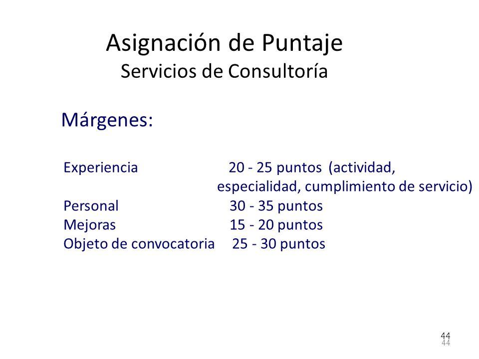 44 Asignación de Puntaje Servicios de Consultoría Márgenes: Experiencia 20 - 25 puntos (actividad, especialidad, cumplimiento de servicio) Personal 30