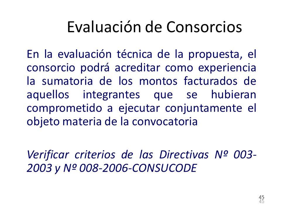 45 Evaluación de Consorcios En la evaluación técnica de la propuesta, el consorcio podrá acreditar como experiencia la sumatoria de los montos factura