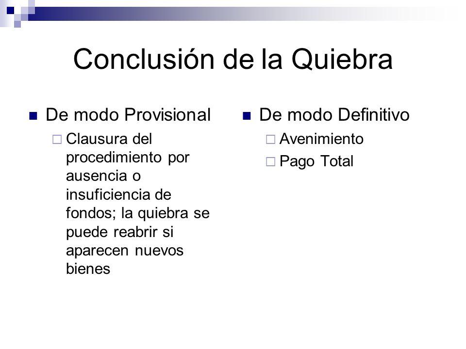 Conclusión de la Quiebra De modo Provisional Clausura del procedimiento por ausencia o insuficiencia de fondos; la quiebra se puede reabrir si aparecen nuevos bienes De modo Definitivo Avenimiento Pago Total