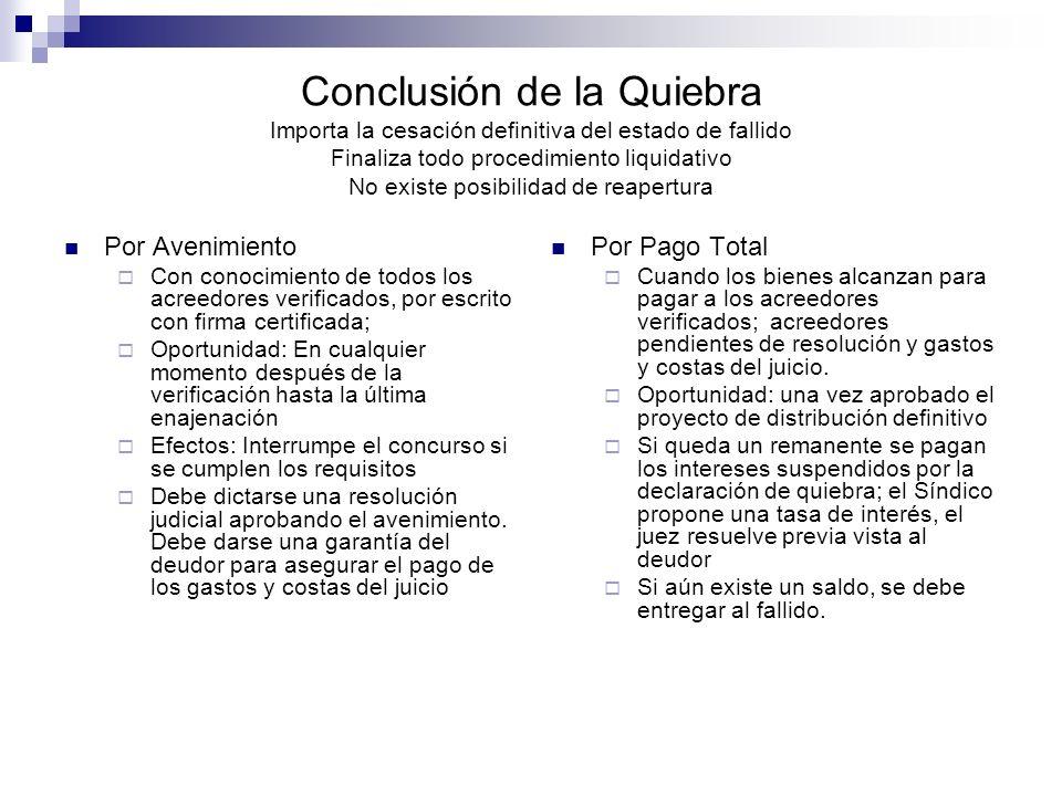 Conclusión de la Quiebra Importa la cesación definitiva del estado de fallido Finaliza todo procedimiento liquidativo No existe posibilidad de reapert