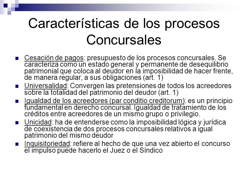 Características de los procesos Concursales Cesación de pagos: presupuesto de los procesos concursales. Se caracteriza como un estado general y perman