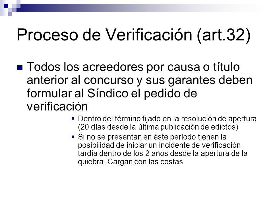 Proceso de Verificación (art.32) Todos los acreedores por causa o título anterior al concurso y sus garantes deben formular al Síndico el pedido de ve