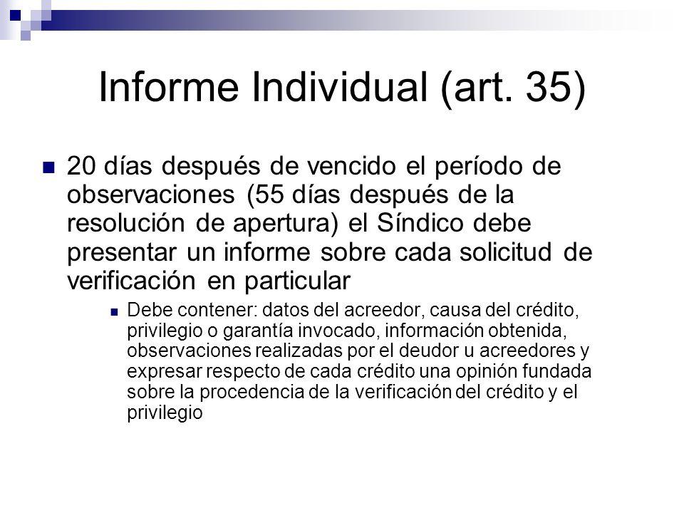 Informe Individual (art. 35) 20 días después de vencido el período de observaciones (55 días después de la resolución de apertura) el Síndico debe pre