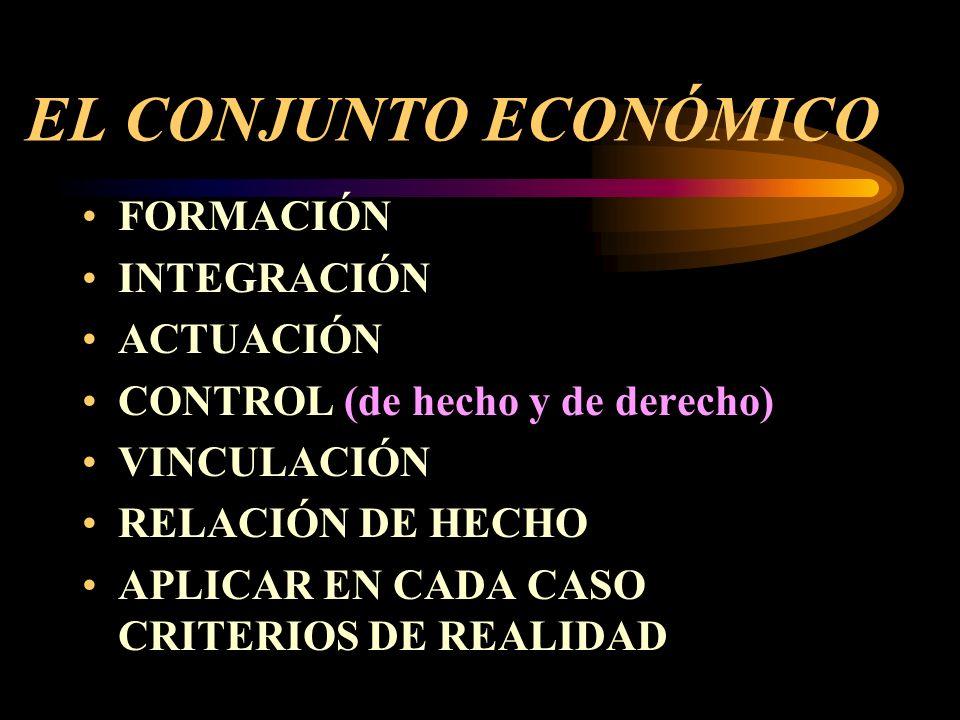 EL CONJUNTO ECONÓMICO FORMACIÓN INTEGRACIÓN ACTUACIÓN CONTROL (de hecho y de derecho) VINCULACIÓN RELACIÓN DE HECHO APLICAR EN CADA CASO CRITERIOS DE REALIDAD