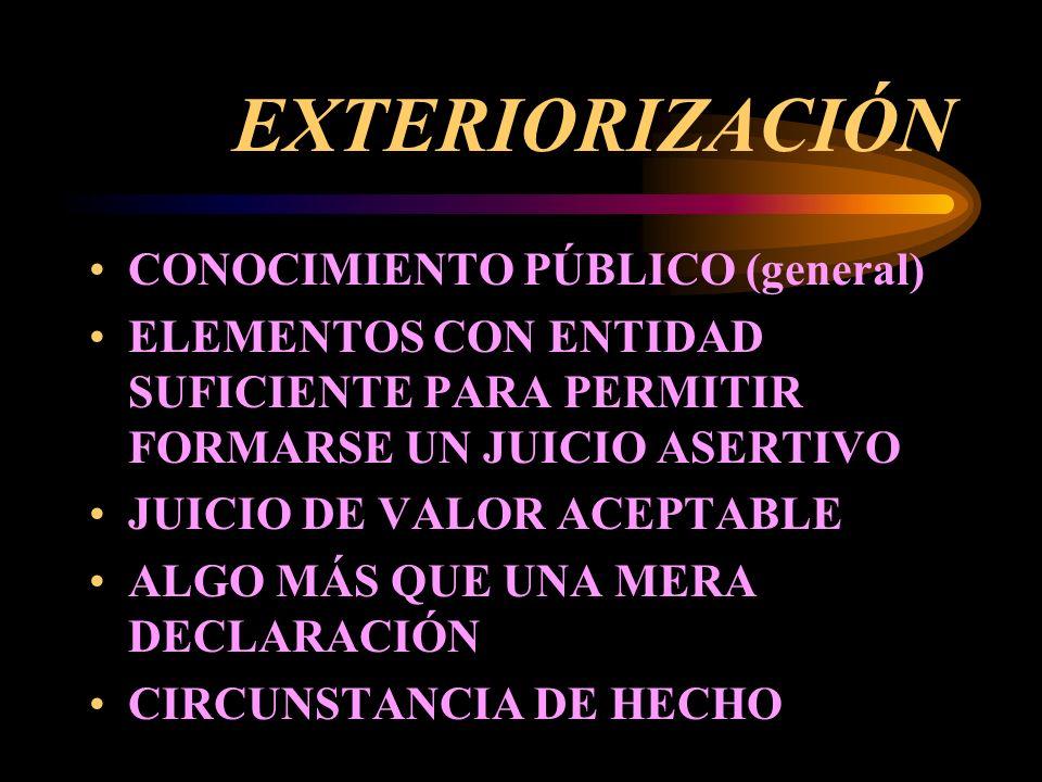 EXTERIORIZACIÓN CONOCIMIENTO PÚBLICO (general) ELEMENTOS CON ENTIDAD SUFICIENTE PARA PERMITIR FORMARSE UN JUICIO ASERTIVO JUICIO DE VALOR ACEPTABLE ALGO MÁS QUE UNA MERA DECLARACIÓN CIRCUNSTANCIA DE HECHO