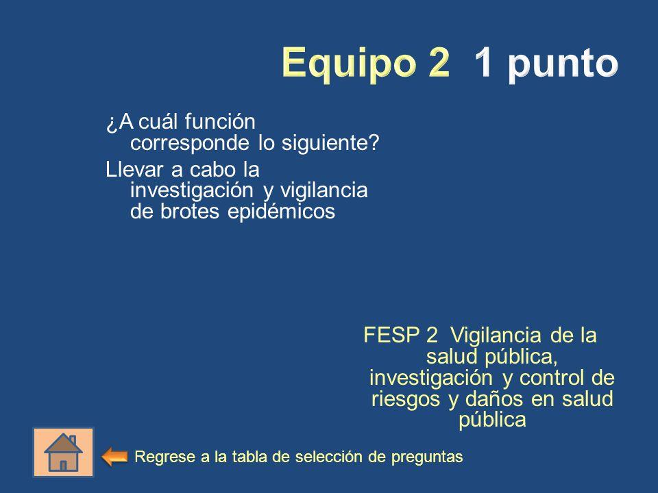 ¿A cuál función corresponde lo siguiente? Llevar a cabo la investigación y vigilancia de brotes epidémicos FESP 2 Vigilancia de la salud pública, inve