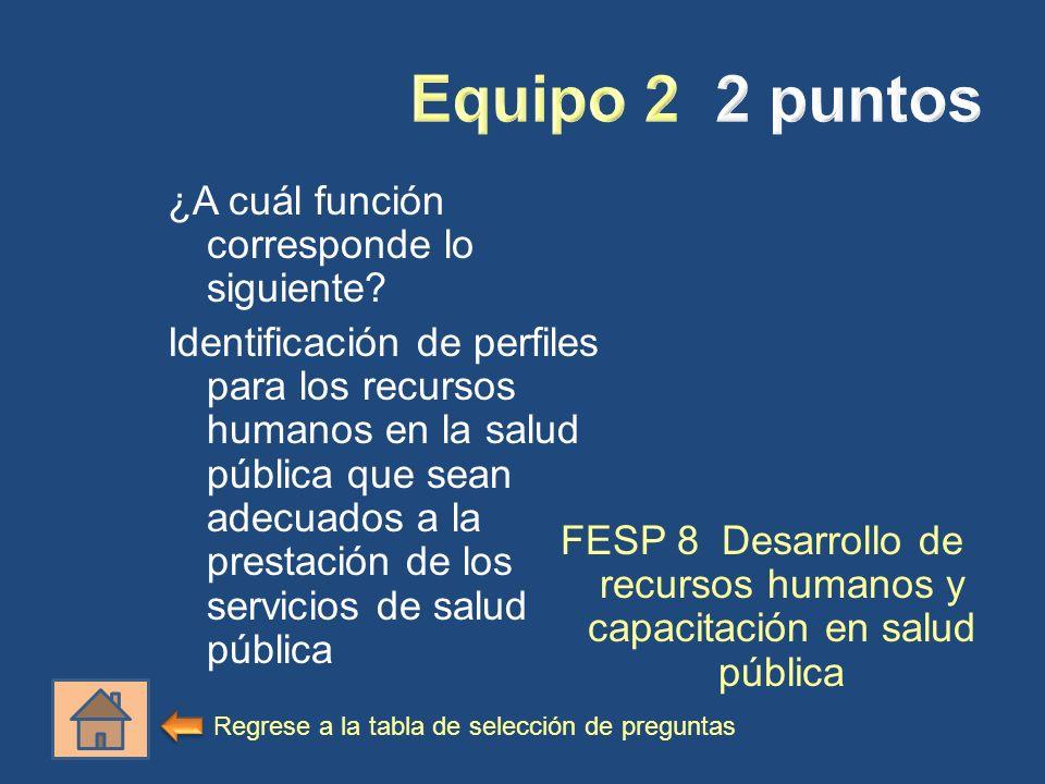 ¿A cuál función corresponde lo siguiente? Identificación de perfiles para los recursos humanos en la salud pública que sean adecuados a la prestación